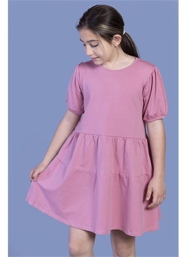 Toontoy Kids Toontoy Kız Çocuk Büzgülü Balon Kol Elbise Renkli